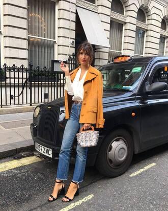 jeans jeanne damas sandals sandal heels high heel sandals black sandals jacket mustard shirt white shirt bag handbag