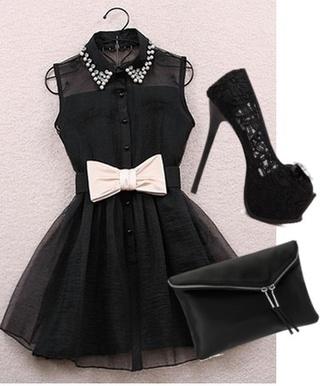 dress black dress peter pan collar bow short black dress