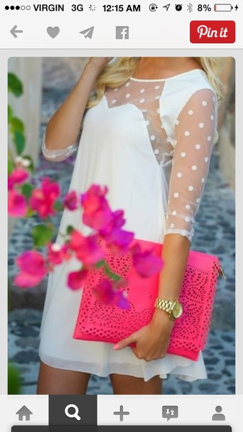 white dress see through dress polka dots sleeves bag hot pink clutch sheer sleeves dress blogs clothes cute dress style white