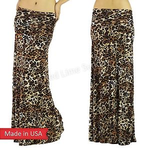 Women Fashion Animal Print Brown Leopard Hot Trend Fold Over Long Maxi Skirt USA