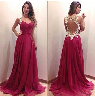 dress lace burgundy flowers openback