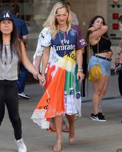 dress,colorful,multicolor,midi dress,sunglasses,bracelets