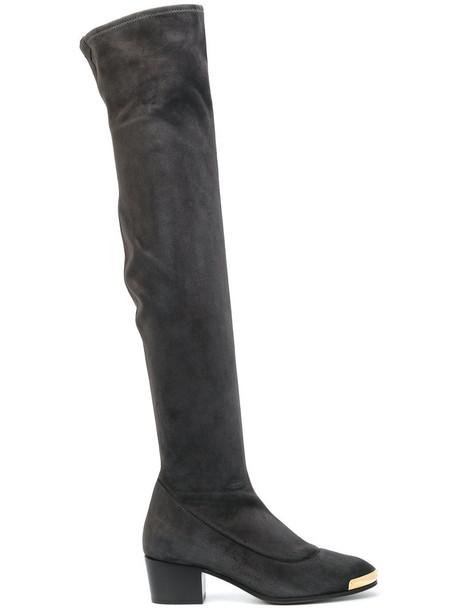 GIUSEPPE ZANOTTI DESIGN women leather suede grey shoes