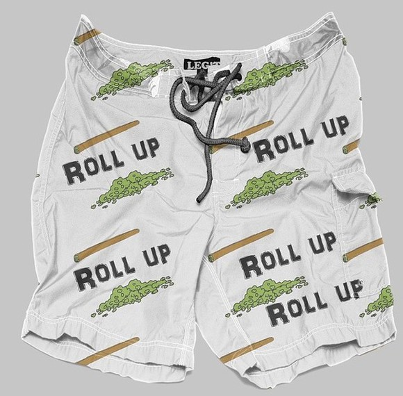 roll-up t-shirt weed summer shorts summer outfits beach streetwear tomboy new girl dope trunks lil wayne marijuana