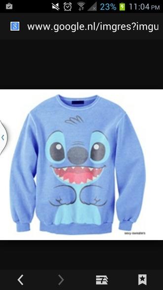 sweater blue sweater stitch lilo&stitch
