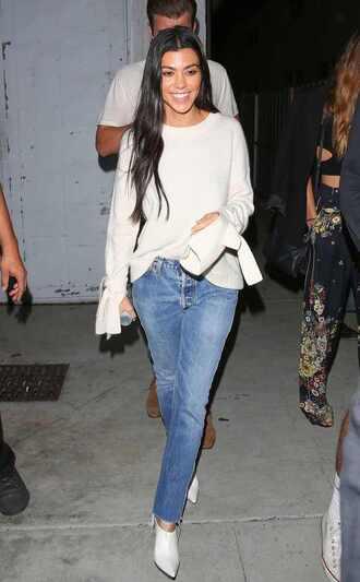 sweater jeans denim kourtney kardashian fall outfits ankle boots streetstyle kardashians