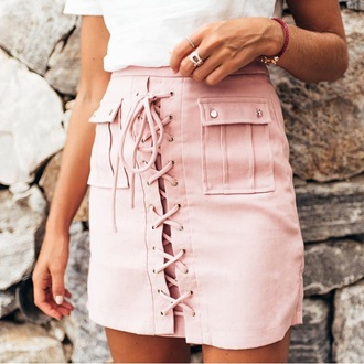 skirt pink lace up nude mini skirt