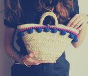 bag,pom poms,beach bag,basket bag,blue pompoms,pompom bag,pompom basket bag,beige basket bag