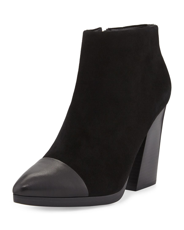 Rivington Suede Cap-Toe Ankle Boot, Black