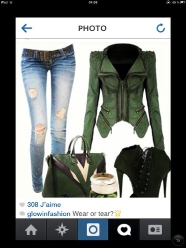 jacket jeans shoes bag