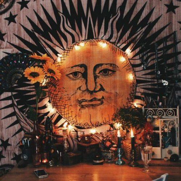 Home Accessory Sun Face Indian Indian Goddess Tapestry