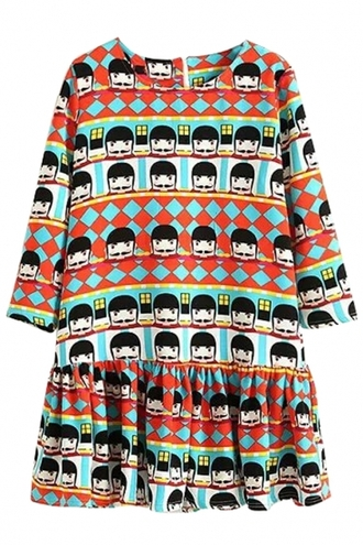 dress cartoon printed dress mini dress moustache