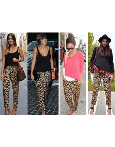 Leopard harem pants leggings celebrity style festival