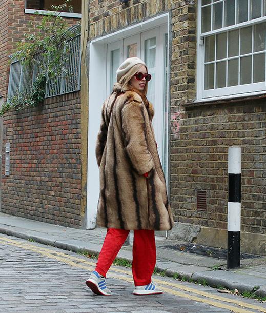 coat fur coat pants red pants wide-leg pants beret sneakers faux fur coat sunglasses