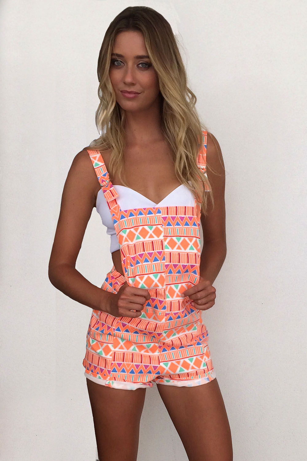 Orange Jump Suits/Rompers - Neon Zig Zag Print Overalls | UsTrendy