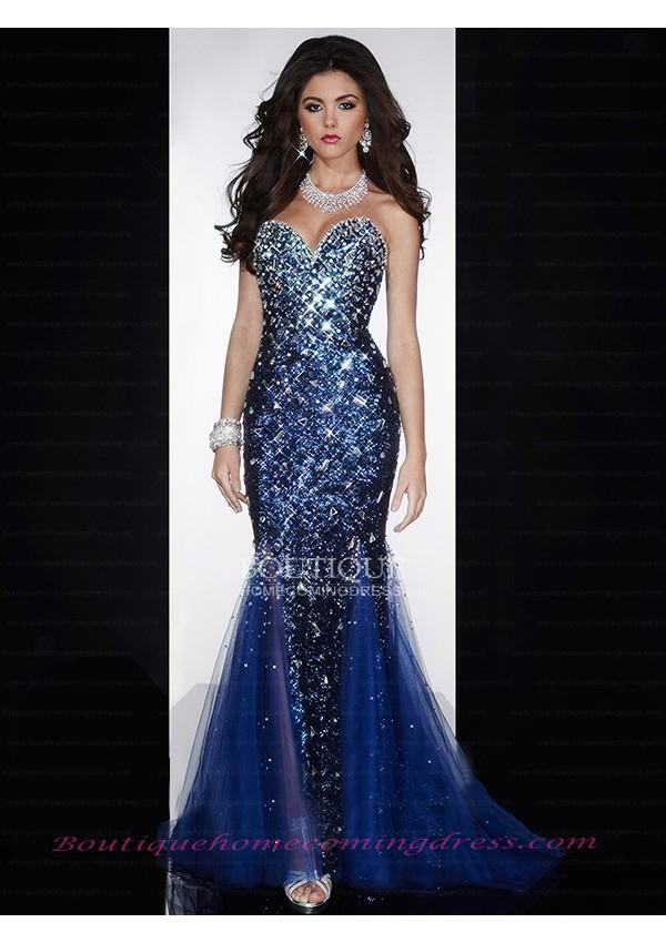 Length mermaid/trumpet tulle prom dress