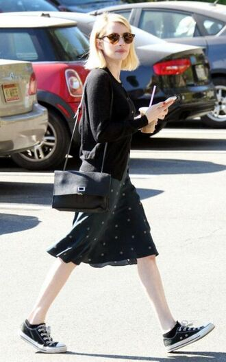 bag sneakers emma roberts midi dress sunglasses purse