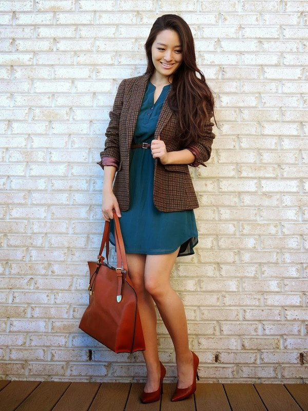 sensible stylista blogger bag jacket blue dress