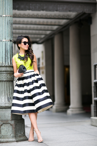 wendy's lookbook blogger sunglasses lime statement necklace striped skirt midi skirt sandals top bag shoes jewels