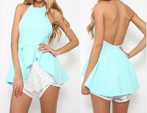 blouse mint top halter top