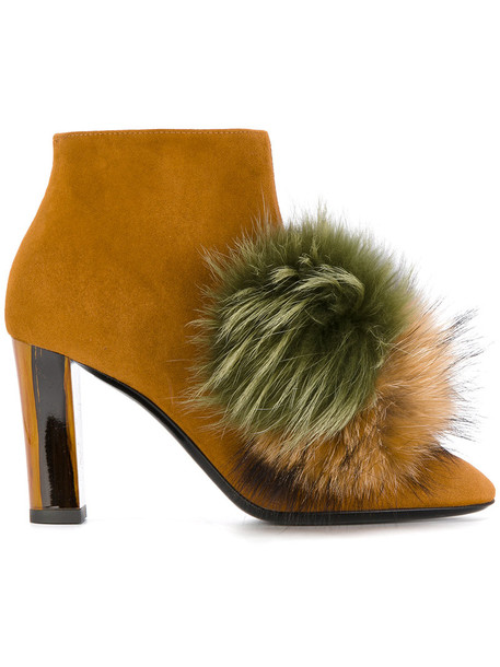 Pollini fur fox women leather brown shoes