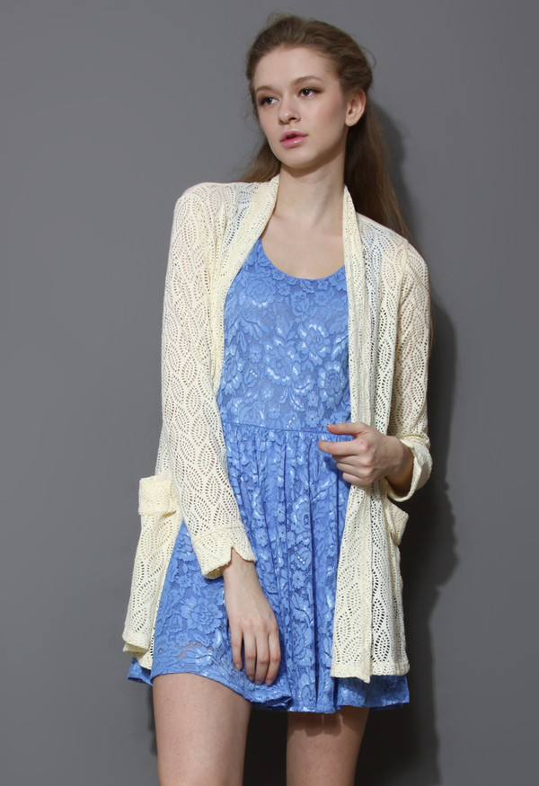 blouse yellow eyelet leaves open cardigan