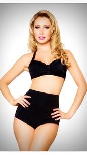 swimwear,black,50s style bikini,50s style,60s style