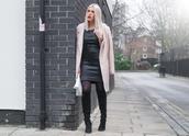 style lime light,blogger,pink coat,leather dress,black boots,dress,coat,bag,shoes,jewels