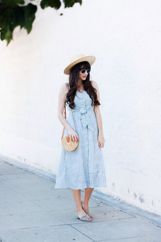 jeans and a teacup blogger dress bag shoes hat sunglasses jeans jewels round bag midi dress blue dress summer dress summer outfits sandals