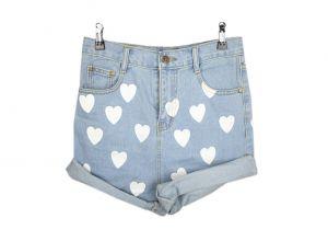 White Heart print blue denim shorts