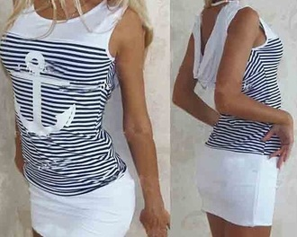 dress short dress anchor design navy dress white dress striped dress anchor
