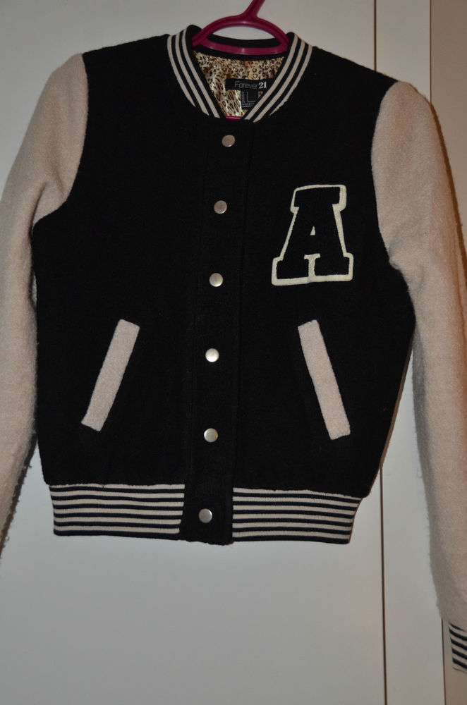 Forever 21 Wool Blend Varsity Jacket Black Taupe Small | eBay