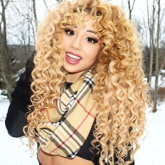 make-up jadah doll hairstyles curly hair blonde hair crop tops black crop top black top scarf burberry eye makeup
