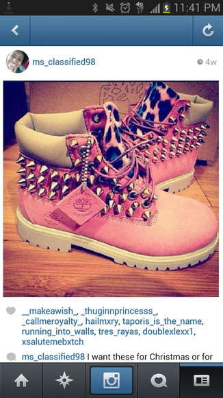 studs shoes boots timberlands leopard