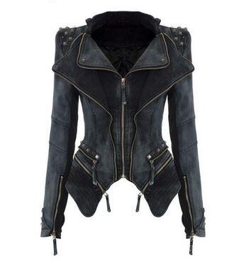 jacket denim denim jacket winter coat studded punk chic hippie couture dream closet couture free shipping