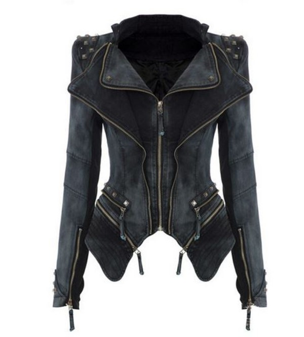 jacket denim denim jacket winter coat studded punk chic hippie couture dream closet couture free shipping