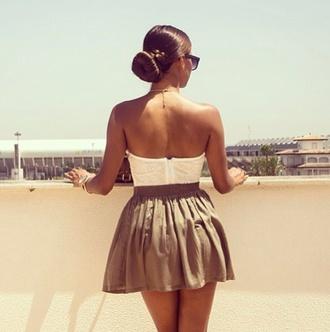 skirt strapless dress strapless top t-shirt dress mini skirt white beige donut bun summer dress