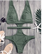 swimwear,girly,one piece swimsuit,one piece,cut-out,cut-out swimwear,olive green