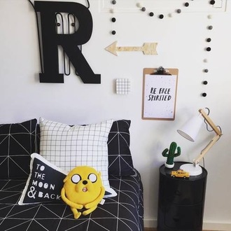 home accessory bedding geometric black white tumblr cactus fairy lights grid jake the dog dorm room bedroom adventure time monochrome grids