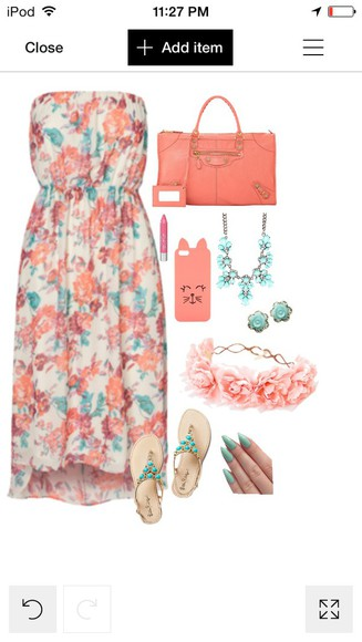 coral flower dress blue