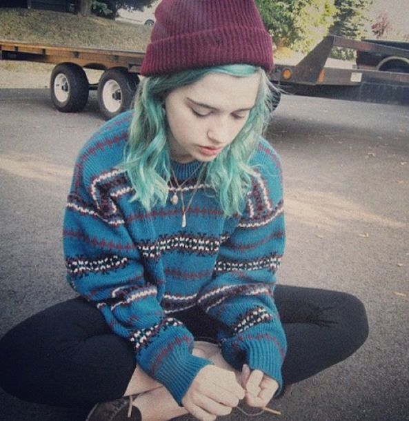 Sweater Blue Vintage Grunge Purple Black White Girl
