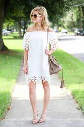 kim tuttle,the knotted chain - a style blog by kim tuttle,blogger,dress,shoes,bag,white dress,off the shoulder,lace dress,mini dress,nude bag,beige bag,summer dress,nude heels,off the shoulder dress,eyelet detail,eyelet dress,short dress,aviator sunglasses,bucket bag,tassel,grey bag,valentino rockstud,nude sandals,slingbacks,studded sandals,bardot dress