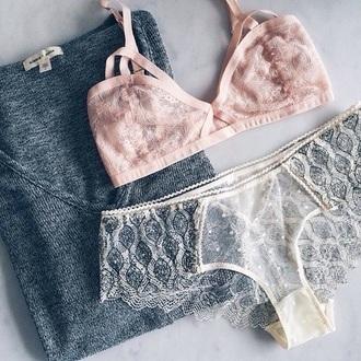 underwear bralette pastel lingerie lace caged