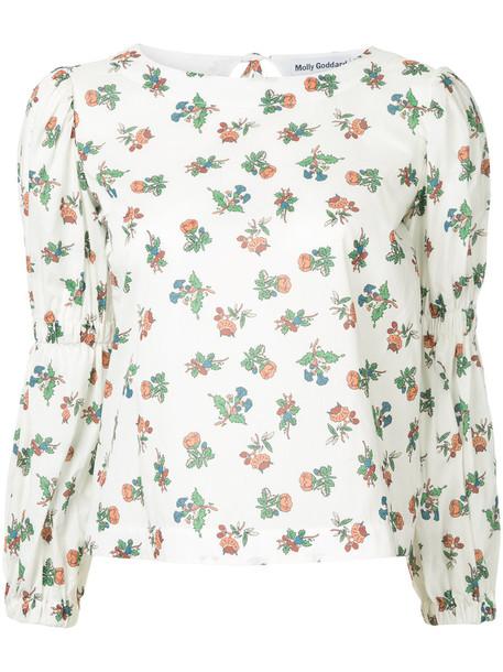 blouse women floral white cotton print top