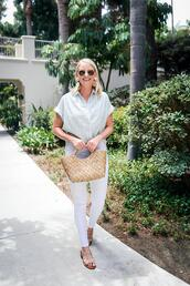 style archives | the style scribe,blogger,shirt,jeans,bag,shoes,sunglasses,jewels,sandals,flat sandals,white pants,basket bag,striped shirt