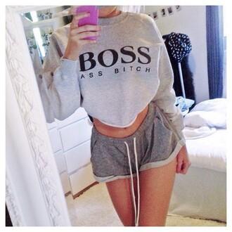 sweater boss dope bitch style fashion streetwear shorts