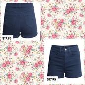 shorts,navy blue high waist shortss