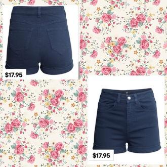 shorts navy blue high waist shortss
