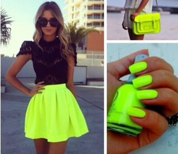 skirt black top neon yellow neon skirt