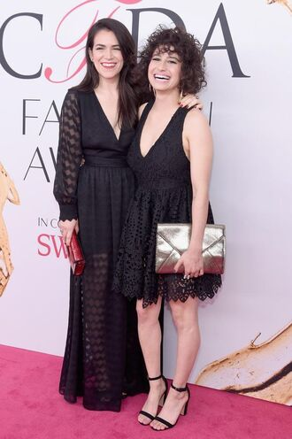 dress ilana glazer abbi jacobson celebrity style celebrity black dress a line dress maxi dress long sleeves mesh dress long dress v neck dress clutch metallic clutch silver clutch envelope clutch sandals sandal heels high heel sandals black sandals red clutch